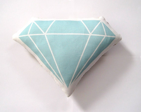 Diamond Pillow in Mint Green by Yellow Heart Art