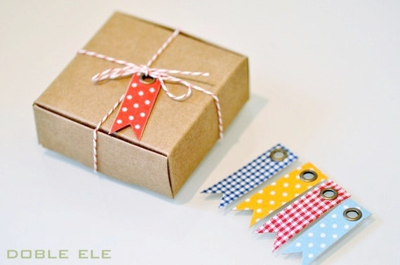 Fabric Kraft Flag Tag x 10