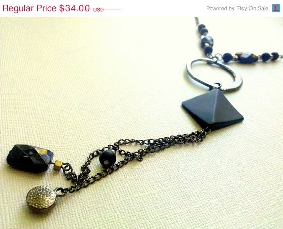ON SALE Geometric Circle Gunmetal Mixed Bead Long Necklace