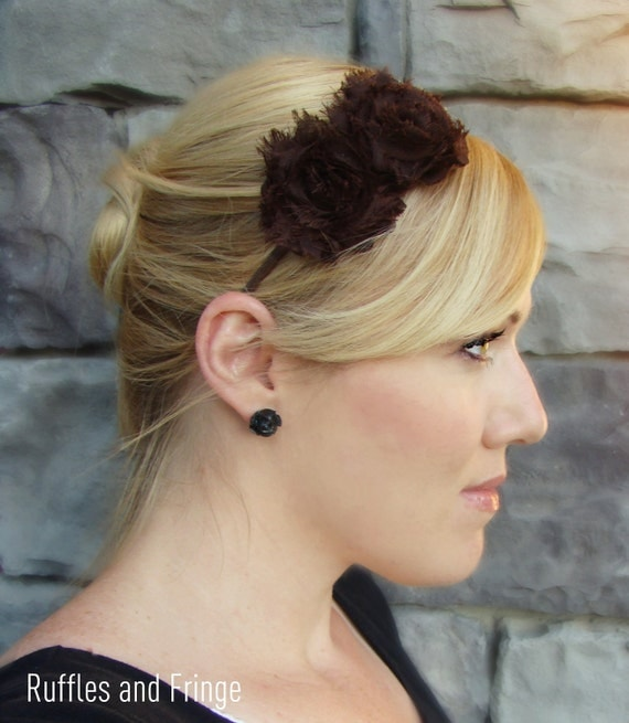 Adult Headband in Chocolate Brown, Shabby Chic Flower for Girls and Women