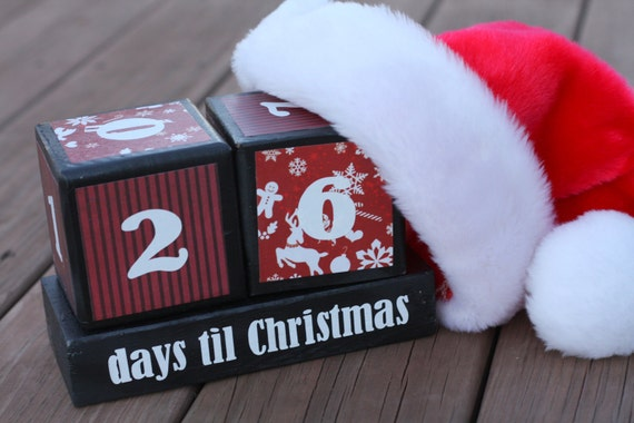 Christmas Countdown Blocks in Red White and Black