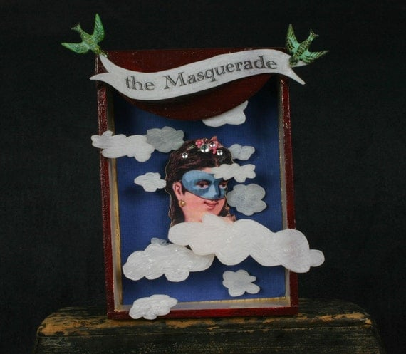 "Head in the Clouds:  ""The Masquerade"" Floating Art Shrine, Wall Hanging, Collage"