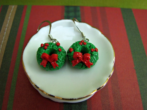 Winter Jewelry- Holiday Wreath Polymer Clay Earrings