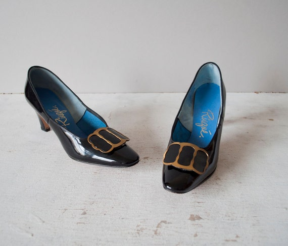 Vintage 60s Black Patent Pumps / Buckle Heels by GingerRootVintage from etsy.com