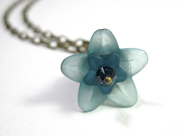 Flower Necklace, Vintage Style Necklace, Aqua, Art Nouveau, Swarovski, Lucite, Antiqued Brass