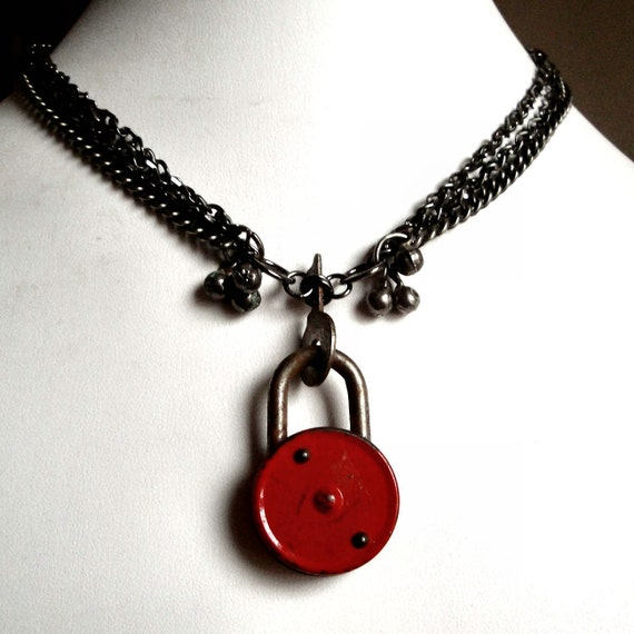 Vintage Lock Necklace - Bright Red Padlock with Silver Key and Tiny Bells on a Triple Chain