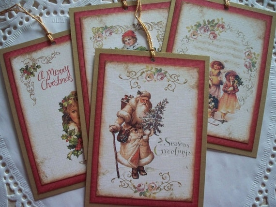 Vintage Christmas Tags - Vintage Medley - Set of 4