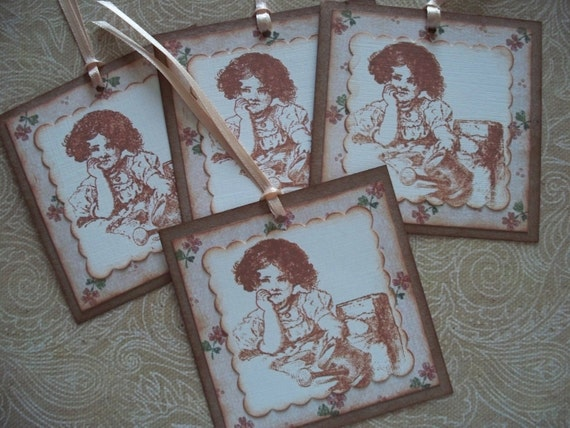 Vintage Gift Tags  - Garden Girl -  Set of 4