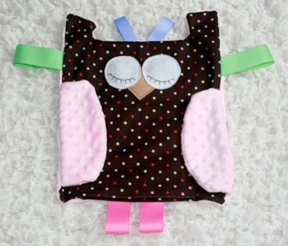 Micro Fleece Girl Owl Tag Blanket