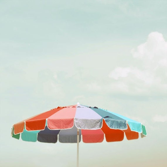 Beach Umbrella Photograph 9x9 -  modern blue red summer print cottage decor