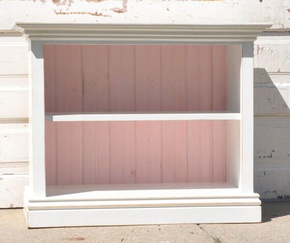 Children's Bookshelf in White and Baby Pink