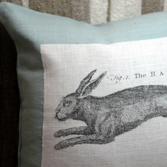 "The Hare 16"" Linen Throw Pillow Cover Pale Aqua"
