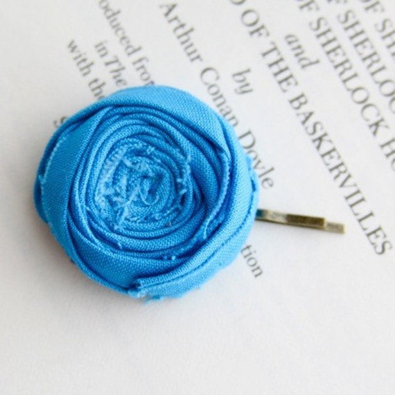 Rosette Bobby Pin Turquoise Blue Cotton Rosette Flower Bobby Pin 1.25 inch