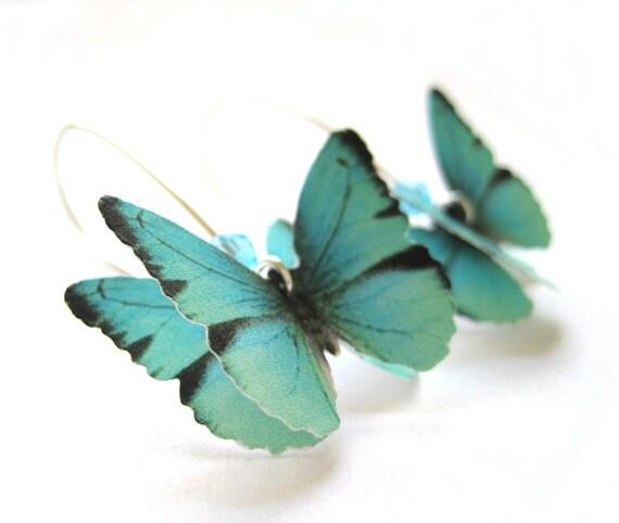 Teal Blue Paper Butterfly Earrings