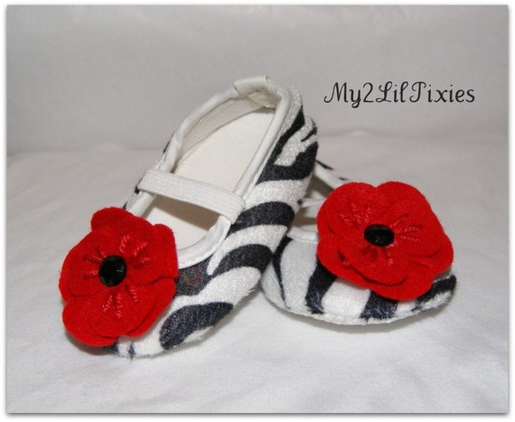 Infant Baby Zebra Print Baby Shoes size 3-6 or 6-9 months-crib  Shoe with Red Flowers and Black Rhinestone Centers- Photo Prop