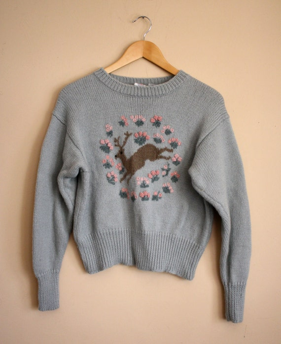 Vintage DARLING  1970s DEER HandKnit  Pullover Sweater, Soft Pale Blue With Pink Details