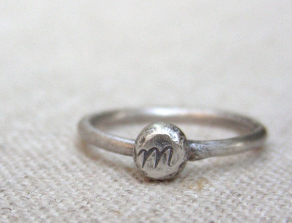 Organic Monogram Initial Personalized Ring -- Free Shipping  -- Recycled Silver