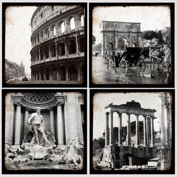 Рим Черное и белое малого Collection - 5 х 5 дюймов - Италия Фото - художественной фотографией - Рим Decor - Рим, Италия Фото