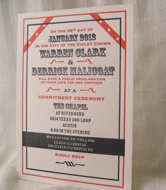 Relaxed Vintagey Wedding Invitation Set Letterpress Printed