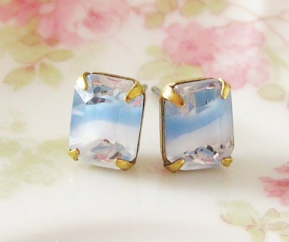 Vintage Petite Light Blue Givre Glass Rhinestone Faceted Post Earrings
