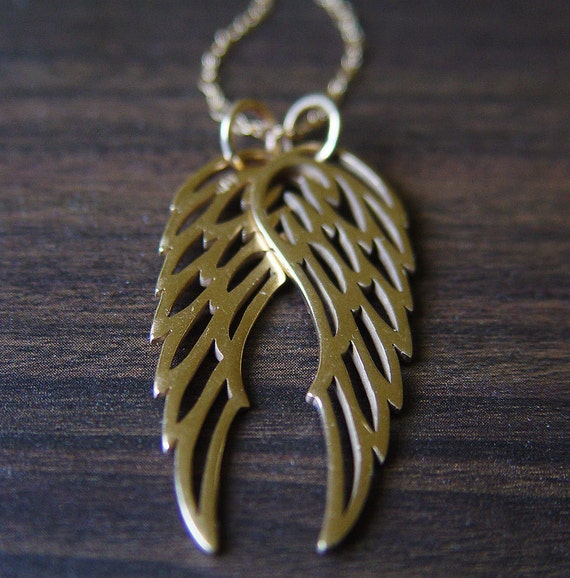 Double Angel Wing Necklace 14k Gold - The Good and the Bad