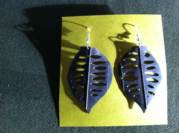 bicycle tube leaf earring