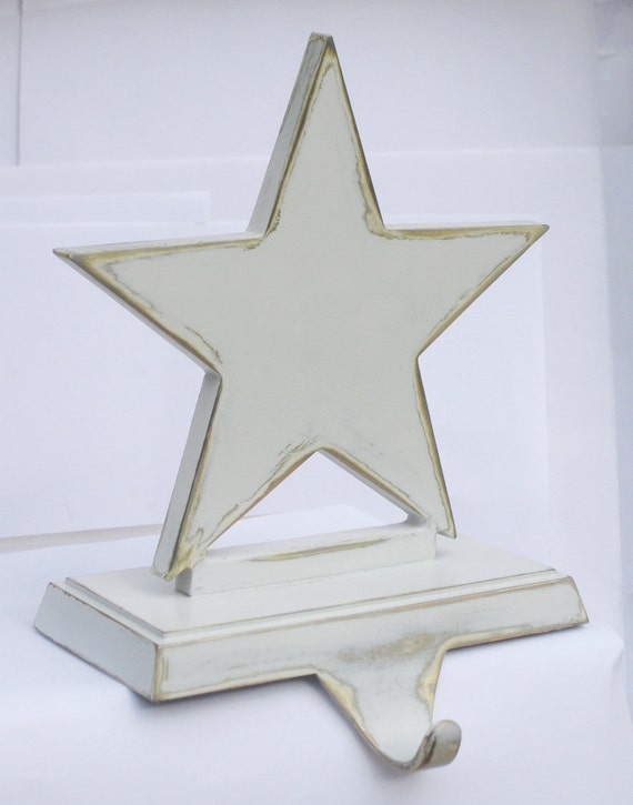 Christmas Star Mantle Hook // Upcycled Star Rack // Shelf, Mantle, Counter // Gold, White // Perfect for Holiday Decorations or Stocking