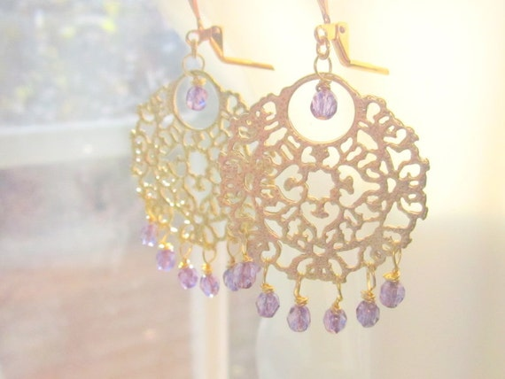 Bollywood Princess Earrings Gold Filigree Purple by MinouBazaar
