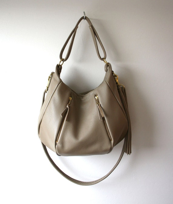 Leather Bag Purse - OPELLE Ballet Bag - Large Size in Mink Pebbled Leather New