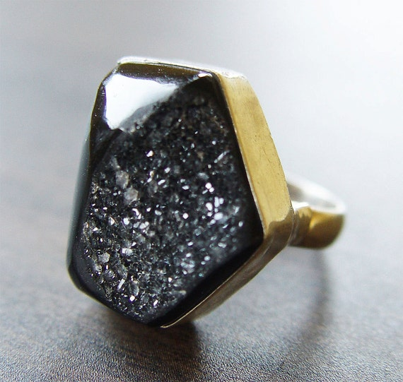 Noir Black Druzy Silver Ring