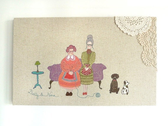 Embroidery Original Art Canvas - 'Betty & Nora' Figurative Textile Artwork. Purple, orange, turquoise, olive