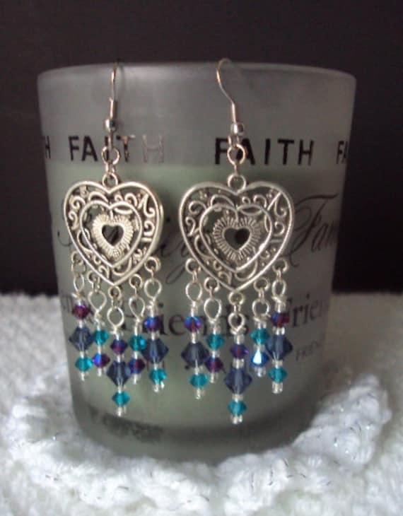 Valentine Heart Motif Chandelier & Swarovski Crystal Earrings- Etsy  Sale-Free Shipping in the USA