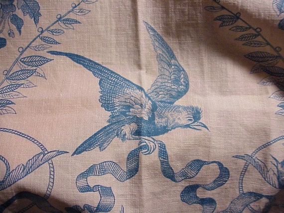ALL 5 PIECES Antique French Fabric Blue Bird Toile 19th century