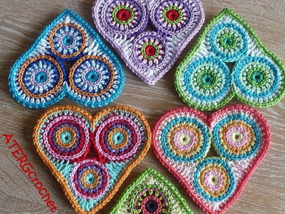 Crochet pattern colorful circle hart by ATERGcrochet