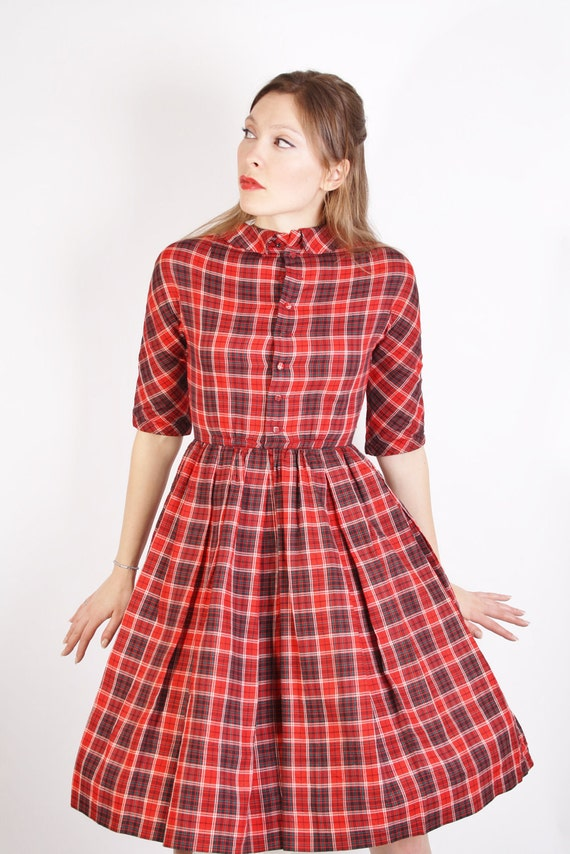 Mad Men Dress / Mad Men / Dress / Dresses / Mad Men Peggy / Christmas Dress / Plaid / Red / Tartan / 1950s Dress / 50s Dress / 0739