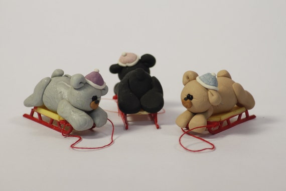 Miniature Clay Sled Bear Sculptures