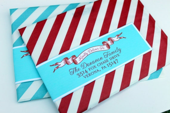 Holiday Wrap Around Address Labels - Return Address - DIY Printable - For Christmas Xmas New Years Eve Holiday Greeting Cards