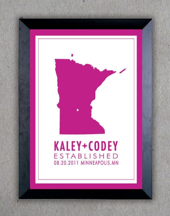 Wedding Date & State Print. established PDF