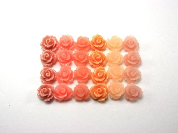 24 pcs Resin Flower Cabochons - 10mm Rose - Peach Mix Assorted Colors