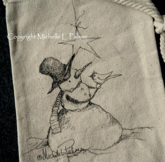 Snowman Winter Christmas Star Cardinal Bird Original Art Illustration on Natural Canvas Bag Tote Purse