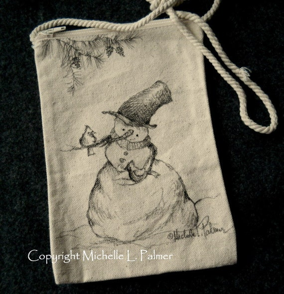 Snowman Winter Christmas Cardinals Bird Original Art Illustration on Natural Canvas Bag Tote Purse