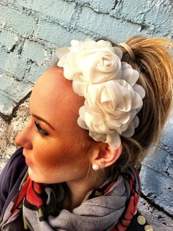 Little Missy Chiffon Flower Headband - Cream Statement Headband head bands Hair Coverings
