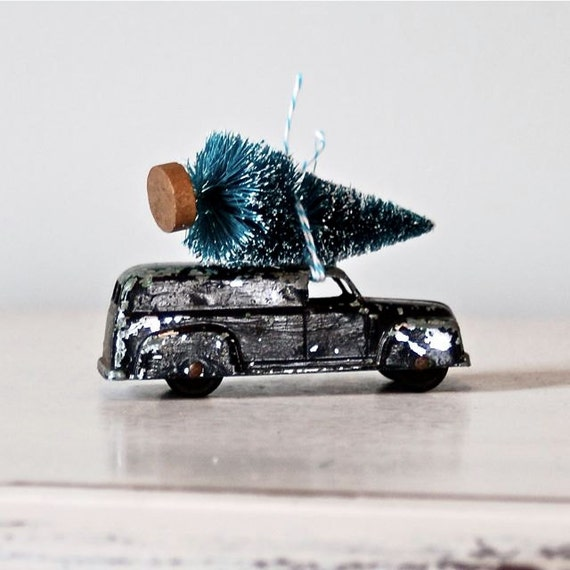 Toy Car Hauling Bottle Brush Tree