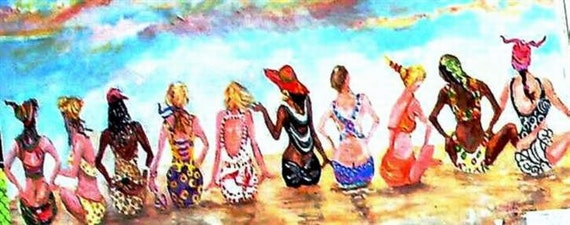 BEACH BABES IV, an original oil painting, inspired by Martha's Vineyard scene