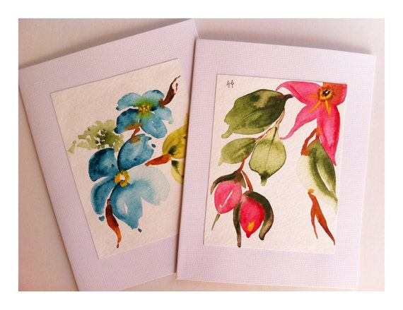Hand Painted Cards, Watercolor Flowers, Botanical Art, Holiday Cards, Original Art, Set of two, Red, Green, Blue, OOAK