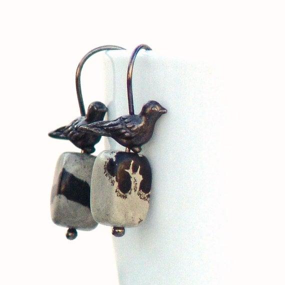 Winter Bird Gemstone Earrings Dangle Black by galleryzooartdesigns on Etsy from etsy.com