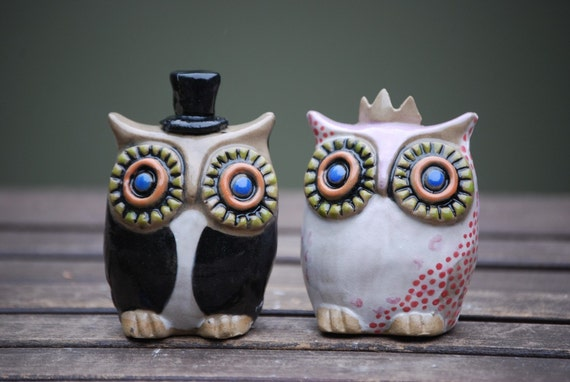 Owl Wedding cake toppers -Handmade ceramic custom  MADE TO ORDER