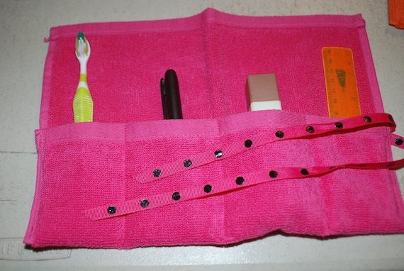 Terrycloth Toothbrush Travel Roll Organizer Stocking Stuffer