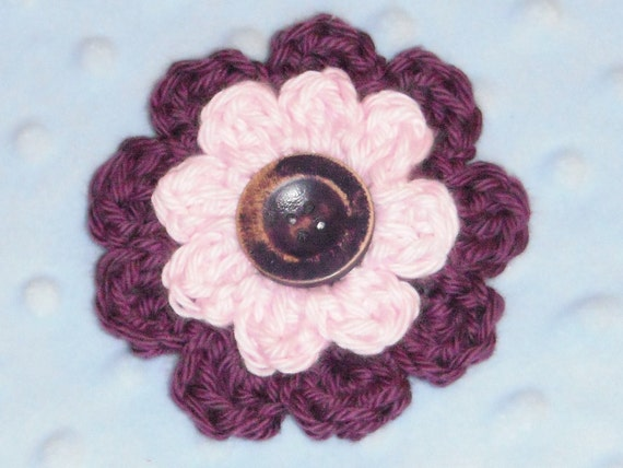 Purple & Pink Crochet Flower Hair Clip with Brushed Purple Button- Large