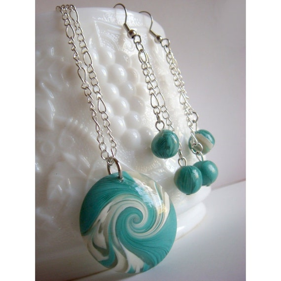 Teal Jewelry - Necklace and Earring set - Swirl Lentil Bead - Teal, White, Aqua, Turquoise - Polymer Clay